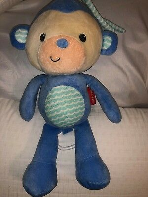 Fisher Price Blue Monkey Musical Crib Baby Pull Toy Twinkle Twinkle Little Star