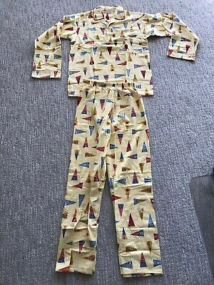 Vintage 60s Flannel 2 Piece Boys Sanforized Cotton College Football Pajamas NOS