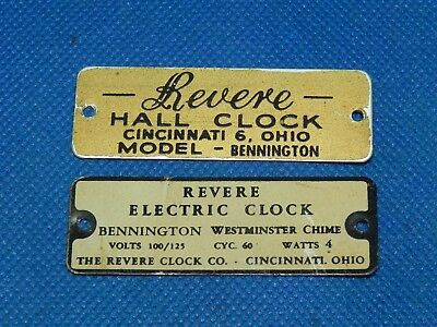 Vintage Grandfather Hall Electric Clock REVERE Bennington Name Plate Emblem