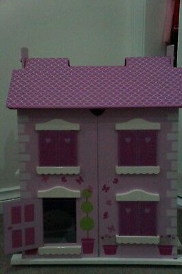 Doll house - Wooden Miniature Doll House Cottage Pink (almost perfect condition)