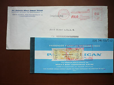 PAN AMERICAN Berlin Ticket ! ! Flughafen Tegel-New York .60er J.u.PAA Brief 1953
