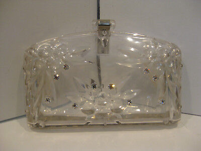 Vintage Lucite Acrylic Clutch Purse with Jewels ORIGINAL Very Good Condition