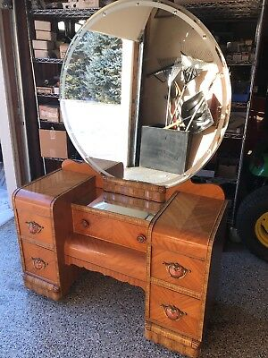 1930's Vintage Art Deco Waterfall Vanity by Webb? Shell Pulls Excellent