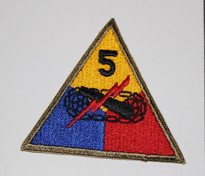 "Authentic WWII U.S. Army 5th Armored Division ""Victory"" Shoulder Insignia Patch"