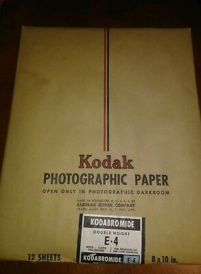 Vintage 1940's Kodak Photographic Paper-Double Weight 12 8x10 Sheets