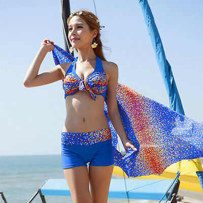 3 pieces bikini swimsuits with beach cover up Color Blue Size 0-2