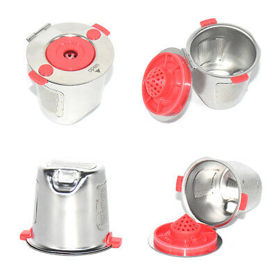 Reusable Capsule Cup Stainless Steel Coffee Silver+Red Brew Pod Durable Useful
