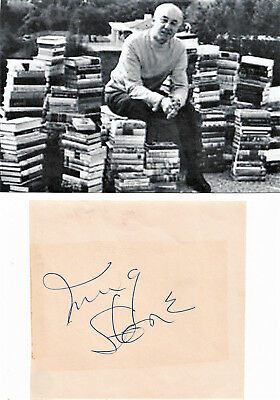 Irving Stone Author Vintage In Person Hand Signed Page With Picture...coa....