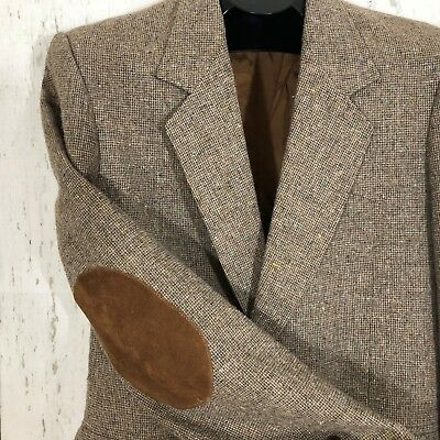 Pioneer Wear Mens Western Style Blazer Size 40 L Suede Elbow Patches Tan Tweed