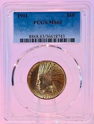 1911 $10 Gold Indian Head PCGS MS63 American Gold Eagle Lustrous Coin