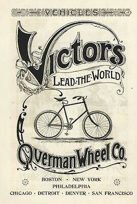 Victors / Overman Wheel Co. Bicycle Advertisement - Vintage From 1894