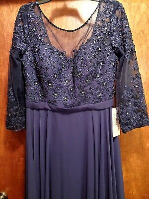 JJs House Dark Navy Mother Of Bride Groom NWT Evening Gown Dress