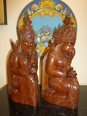 Ganesha SIWA BALI Indonesia Hand Carved Solid Wood Sculptures Bookends