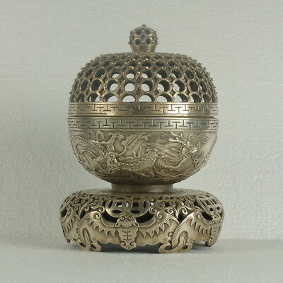 Chinese Silvering Copper Carved Dragon Incense Burner RT0005+b