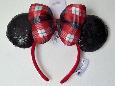 Disney Parks 2018 Christmas Holiday Squine Minnie Ears Headband New with Tags
