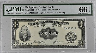 1949 Philippines, Central Bank 1 Peso Banknote P-133h # NR #  PMG 66 EPQ UNC #