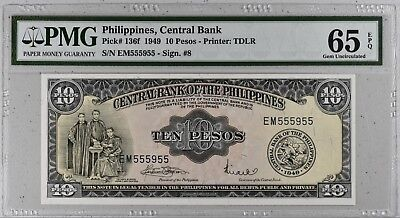 1949 Philippines, Central Bank 10 Pesos Banknote P-136f # NR #  PMG 65 EPQ UNC #