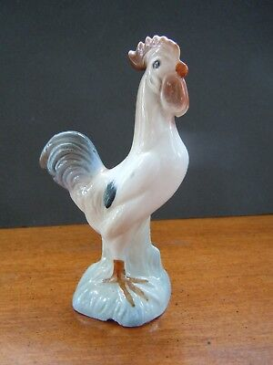 "Small Blue & Tan Vintage Rooster Figurine, Porcelain, 5"" high"