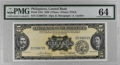 1949 Philippines, Central Bank 5 Pesos Banknote P-135e # NR #  PMG 64 UNC #