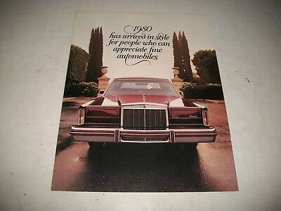 1980 Lincoln Continental &  Continental Mark Vi Sales Brochure Catalog Clean