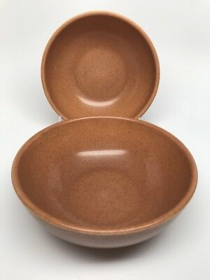 """Vtg RUSSEL WRIGHT IROQUOIS """"CASUAL BROWN"""" Set of 2 COUPE CEREAL BOWLS - 5-1/4"""""""