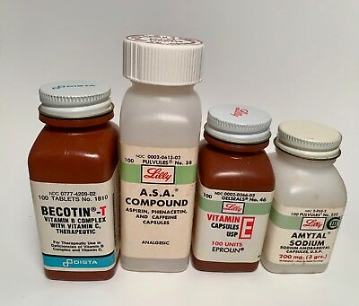 Eli Lilly Medicine Bottles, plastic collectibles from the'70s, '80s, '90s
