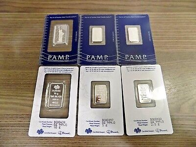 10, 5 and 2.5 GRAM PAMP SUISSE LIBERTY FLAG SILVER BAR SEALED .999 lot of 3