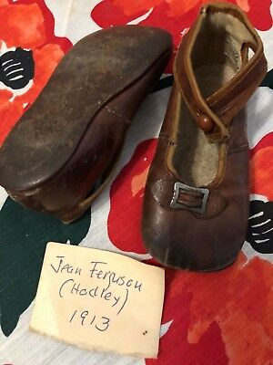 Small Antique Brown Leather Baby / Doll Shoes With Glass Button Strap & Buckles