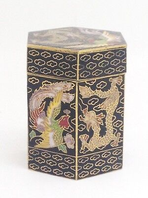 Vintage Chinese Cloisonne Tea Caddy With Mark