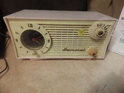 Vintage Admiral Pink 244 Tube Radio 1950s Chassis No. 5C4 AM CLOCK RADIO TESTED