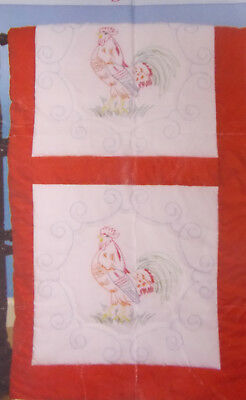 """18 Quilt Sq.Rooster 18"""" Stamped for Embroidery Jack Dempsey New"""