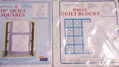 Mixed Lot Jack Dempsey Stamped 4 Embroidery Quilt Sq. Starburst Hearts Lady