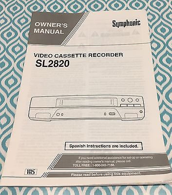 Symphonic Owner's Manual VCR SL2820 Spanish And English