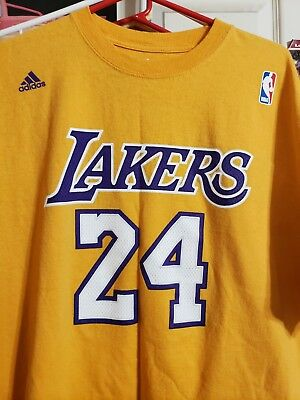 0cfd50fb KOBE BRYANT #24 Lakers NWT Adidas Net Number T-SHIRT NBA *NEW* Gold ...