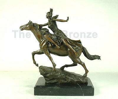 """CL.J.R.COLINET bronze statue, art deco girl on horse """"Towards the Unknown"""""""