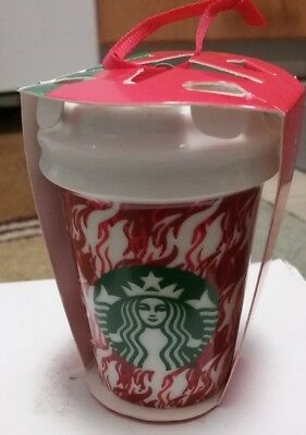 Starbucks Ornament Christmas Holiday White Red Flames Ceramic To Go Cup 2018 New
