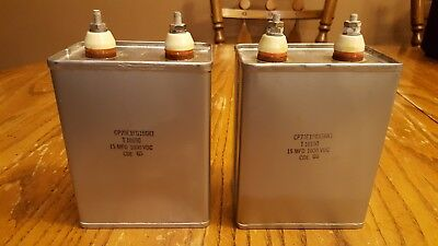 Pair of Used Cornell Dubilier Paper In Oil (pio) 15uf 1000vdc Capacitors