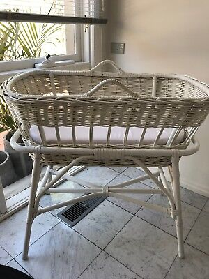 Vintage Baby Bassinet Rattan With Stand