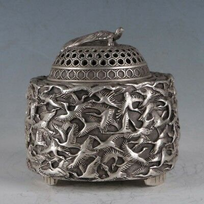 Chinese  Silvering Copper Crane Incense Burner Made By The Royal QIanlongBT0052