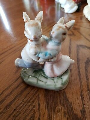 Vintage Rabbit Dancing Couple and Hand Holding Couple Ceramic Set~Valentine's ♡