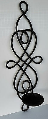 """Tuscan Brown 20"""" Iron Scroll Wall Sconce ~ Fold Flat ~ Holds Large Pillar Candle"""