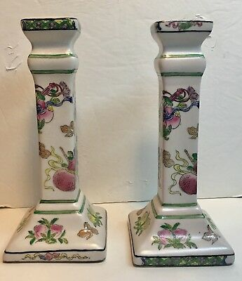 Chinese Antique Candlestick Holders - Rare Pair Of Qianlong Famille Verte