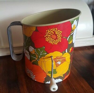 Vintage Willow Flour Sifter Rotary Hand Sifter Funky Florals