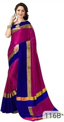 Multicolour Bollywood Saree Designer Saree  Indian  Cotton Silk party wear Sari