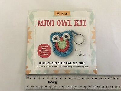 Hooked Aztec-Style Mini Owl keyring Crochet Kit, cute and simple craft, unopened