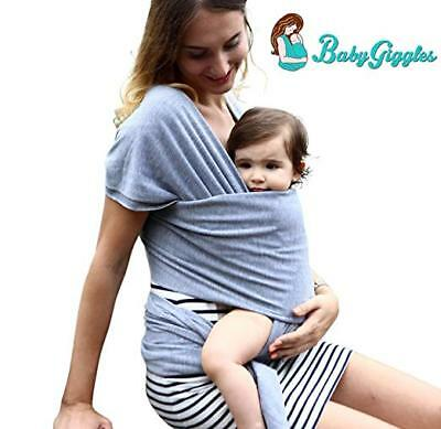 BabyGiggles Baby Wearing Wrap Carrier Stretchy, Comfy, Soft Sling Grey Black