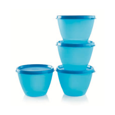 NEW Tupperware Refrigerator Bowls, Set of 4, Turquoise Blue, 13.5 oz