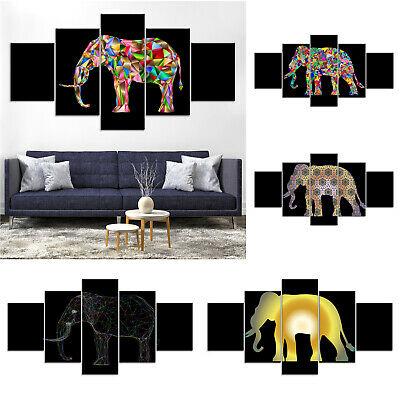Colorful Elephant Abstract Canvas Print Painting Home Decor Wall Art Poster 5Pcs