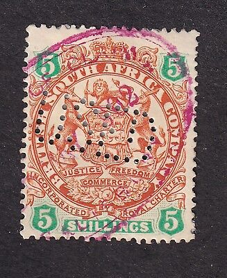 British South Africa 1895 5/- chestnut/emerald perfin used