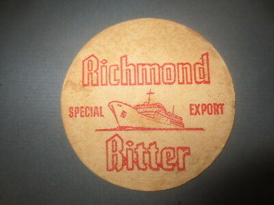 """1 only RICHMOND Brewery,Victoria 1950,s  Issued  BEER COASTER """" rare"""" A"""